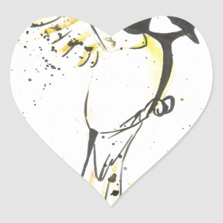 Yellow bird heart sticker