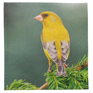Yellow Bird on Branch Napkin