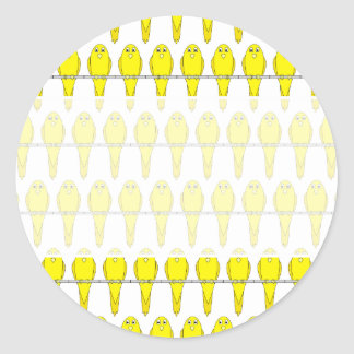 Yellow Bird Pattern. Canaries. Classic Round Sticker