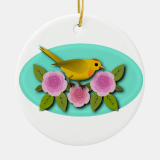 Yellow Bird Pink Peonies and Aqua Oval Ceramic Ornament