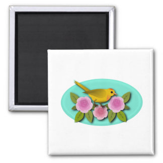 Yellow Bird Pink Peonies and Aqua Oval Magnet