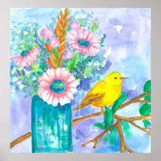 Yellow Bird Watercolor Flower Bouquet Poster