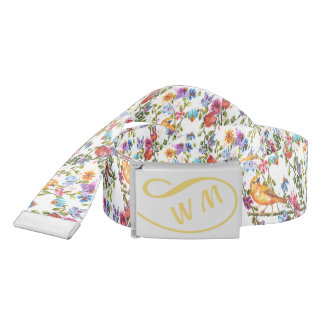YELLOW BIRD WHIMSICAL FLORAL BELT