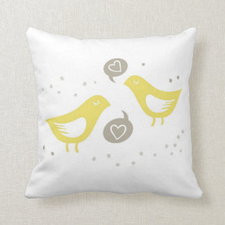 yellow birds talking about love cushions