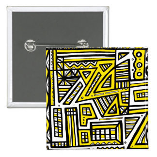 Yellow Black Abstract 15 Cm Square Badge