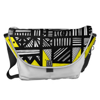 Yellow Black Abstract Messenger Bags