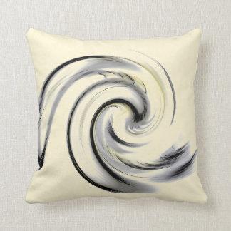 Yellow, Black and Gray Smokey Swirl Cushion