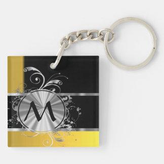 Yellow black and silver monogram key ring