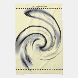 Yellow, Black and Smokey Gray Swirl Tea Towel
