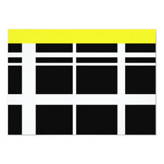 Yellow Black and White lines 13 Cm X 18 Cm Invitation Card