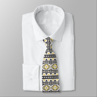 Yellow Black and white Southwestern Pattern Tie