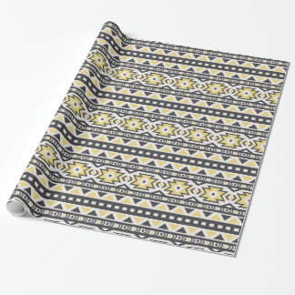 Yellow Black and white Southwestern Pattern Wrapping Paper