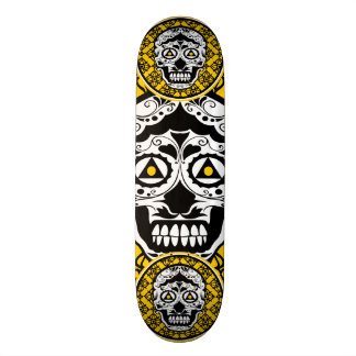Yellow Black and white sugar skull style design 21.6 Cm Skateboard Deck