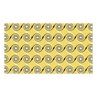 Yellow, Black and White Swirls Pattern. Pack Of Standard Business Cards
