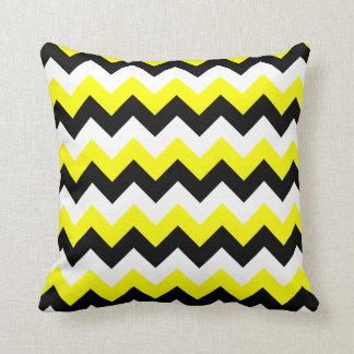 Yellow Black and White Zigzag Cushion