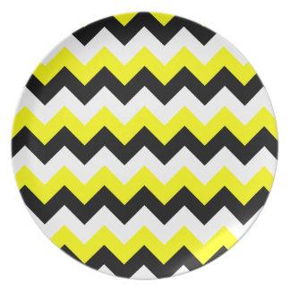 Yellow Black and White Zigzag Plates