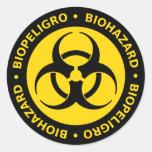 Yellow & Black Bilingual Biohazard Sticker
