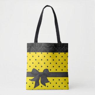 Yellow Black Bow Polka Dots Damask Pattern Tote Bag