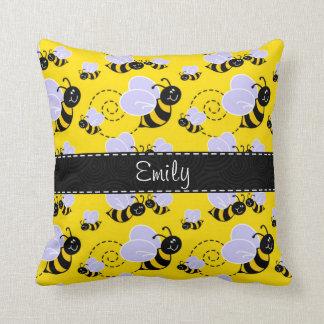 Yellow & Black Bumble Bee Cushions