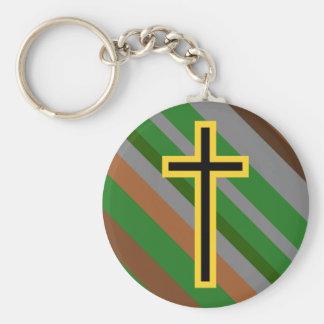 Yellow & Black Christian Cross on Natural Stripes Key Ring