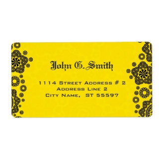 Yellow & Black Circle Pattern Design Shipping Label