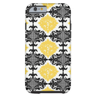 Yellow & black damask floral girly flower pattern tough iPhone 6 case