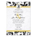 Yellow & Black Damask Swirls Wedding Invitations