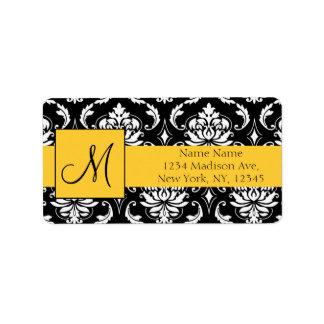 Yellow Black Damask Wedding RSVP Return Address Address Label