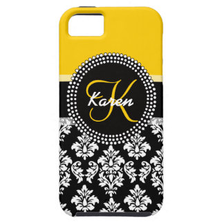 Yellow Black Damask Your Monogram iPhone 5 Cover