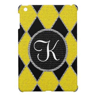 Yellow black diamond monogram IPad mini case