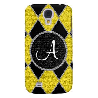 Yellow black diamond monogram Samsung galaxy case