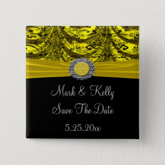 Yellow & Black Draped Baroque Save The Date 15 Cm Square Badge