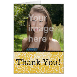 Yellow Black Floral Photo Thank You Note Card