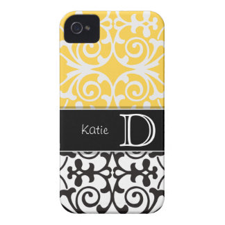 Yellow/Black Flourish Personalized iPhone 4/4s Case-Mate iPhone 4 Cases