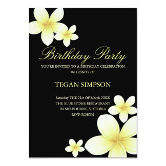Yellow & Black Frangipani Birthday Invite