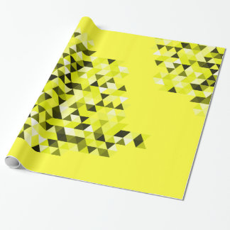 Yellow Black Geometric Color Triangles Pattern Wrapping Paper
