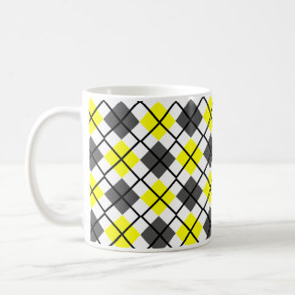 Yellow, Black, Grey on White Argyle Print Mug