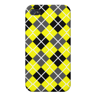 Yellow, Black, Grey & White Argyle  Covers For iPhone 4