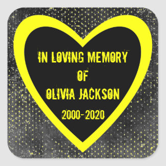Yellow black grunge heart custom sympathy stickers