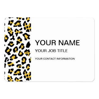 Yellow Black Leopard Animal Print Pattern Business Card Template
