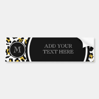 Yellow Black Leopard Animal Print with Monogram Bumper Sticker