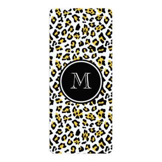 Yellow Black Leopard Animal Print with Monogram Custom Announcement