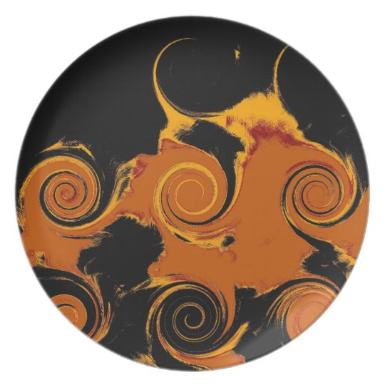 Yellow, Black, Orange Fire Swirl Retro Fine Art Plate
