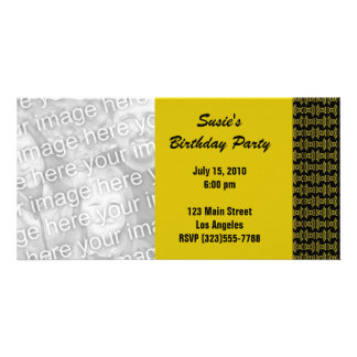 yellow black pattern party photo greeting card