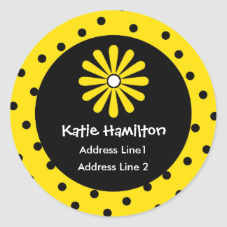 Yellow Black Polka Dot Address Labels Stickers