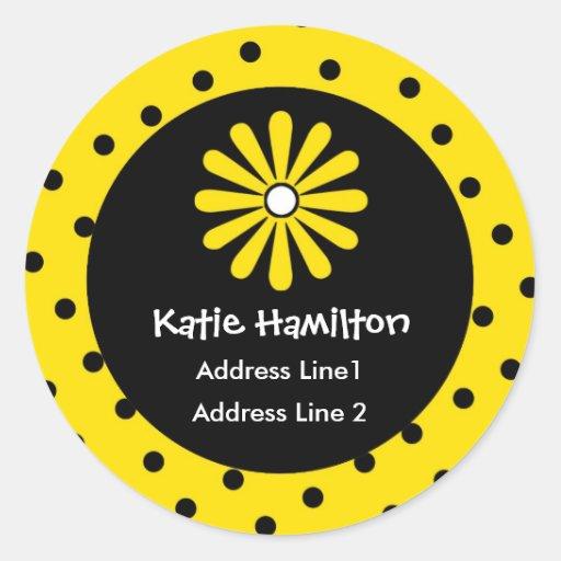 Yellow & Black Polka Dot Address Labels Stickers