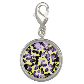 Yellow Black Purple Dot Round Charm