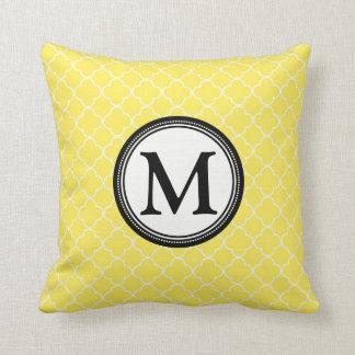 Yellow Black Quatrefoil Monogram Decorative Pillow