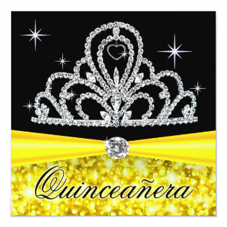 Yellow Black Quinceanera Princess Tiara Bling Custom Invitation