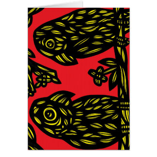 Yellow Black Red Parrots Greeting Card